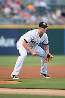 Charlotte Knights third baseman Matt Davidson (22) on defense against the Gwinnett Braves at BB&T BallPark on August 24, 2015 in Charlotte, North Carolina.  The Knights defeated the Braves 3-2.  (Brian Westerholt/Four Seam Images)
