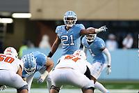 CHAPEL HILL, NC - NOVEMBER 23: Chazz Surratt #21 of the University of North Carolina during a game between Mercer University and University of North Carolina at Kenan Memorial Stadium on November 23, 2019 in Chapel Hill, North Carolina.