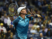 8th September 2017, Flushing Meadows, New York, USA;   Kevin Anderson (RSI) in action during his men's singles semi-final at the US Open on September 08, 2017 at the Billie Jean King National Tennis Center in Flushing Meadow, NY.
