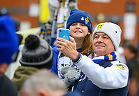 Leeds United fans pose for a picture outside Elland Road<br /> <br /> Photographer Alex Dodd/CameraSport<br /> <br /> The EFL Sky Bet Championship - Leeds United v Bristol City - Saturday 24th November 2018 - Elland Road - Leeds<br /> <br /> World Copyright &copy; 2018 CameraSport. All rights reserved. 43 Linden Ave. Countesthorpe. Leicester. England. LE8 5PG - Tel: +44 (0) 116 277 4147 - admin@camerasport.com - www.camerasport.com