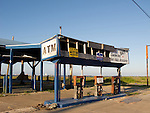 Remains of a gas station after hurricane Ike.