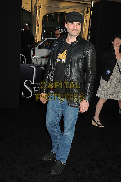 Robert Rodriguez.'Dark Shadows' Los Angeles premiere  at Grauman's Chinese Theatre, Hollywood, California, USA..7th May 2012.full length leather jacket top jeans denim black hat stubble facial hair baseball cap.CAP/ADM/BP.©Byron Purvis/AdMedia/Capital Pictures.