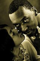 Engagement Photographs of Julian Parham  and Jamie Clark at Visual Statements Photography Studio in Atlanta, GA.