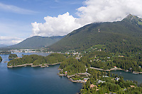 Aerial view of the coastal town of Sitka, Baranof Island, Southeast panhandle of Alaska.