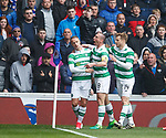 Leigh Griffiths celebrates his goal as Scott Brown and Stuart Armstrong join in