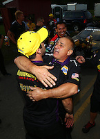 Oct 2, 2016; Mohnton, PA, USA; NHRA pro stock driver Vincent Nobile celebrates with father John Nobile after winning the Dodge Nationals at Maple Grove Raceway. Mandatory Credit: Mark J. Rebilas-USA TODAY Sports