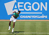 June 19th 2017, Queens Club, West Kensington, London; Aegon Tennis Championships, Day 1; Jo-Wilfried Tsonga of France serving the ball during his game with Adrian Mannarino