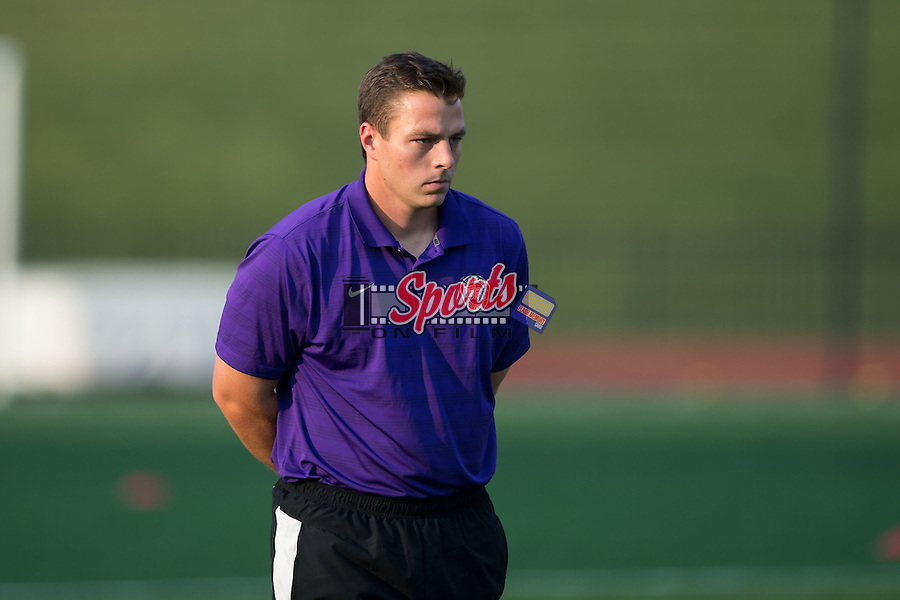 High Point Panthers head coach EJ O'Keeffe watches his team warm-up prior to their match against the VMI Keydets at Vert Track, Soccer & Lacrosse Stadium on September 5, 2015 in High Point, North Carolina.  (Brian Westerholt/Sports On Film)