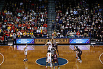 SIOUX FALLS, SD: MARCH 22:  Ferris State and West Texas A&M tip off their game at the 2018 Division II Men's Basketball Championship at the Sanford Pentagon in Sioux Falls, S.D. (Photo by Dick Carlson/Inertia)