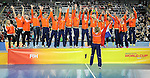 Leipzig, Germany, February 08: Team of The Netherlands receives the World Cup Trophy after defeating Germany after shoot-out to win the FIH Indoor Hockey Women World Cup on February 8, 2015 at the Arena Leipzig in Leipzig, Germany. (Photo by Dirk Markgraf / www.265-images.com) *** Local caption ***