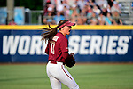 OKLAHOMA CITY, OK - JUNE 04: Cali Harrod #10 of the Florida State Seminoles celebrates after an out against the Washington Huskies during the Division I Women's Softball Championship held at USA Softball Hall of Fame Stadium - OGE Energy Field on June 4, 2018 in Oklahoma City, Oklahoma. (Photo by Tim Nwachukwu/NCAA Photos via Getty Images)