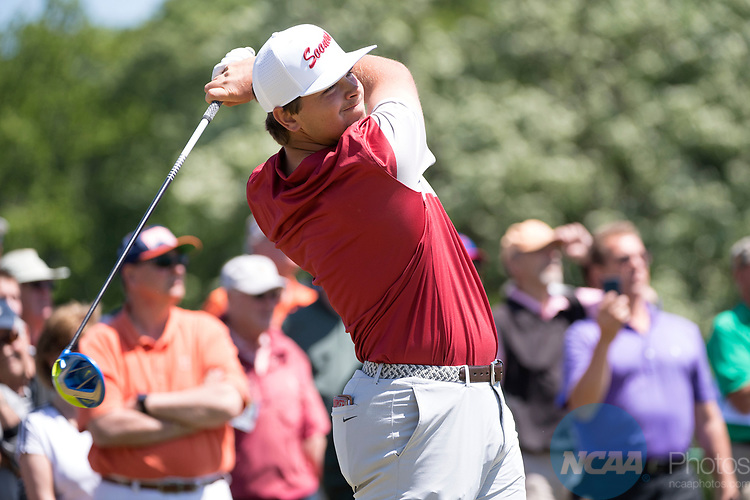 SUGAR GROVE, IL - MAY 31: Blaine Hale of the University of Oklahoma tees off during the Division I Men's Golf Team Championship held at Rich Harvest Farms on May 31, 2017 in Sugar Grove, Illinois. Oklahoma won the team national title. (Photo by Jamie Schwaberow/NCAA Photos via Getty Images)