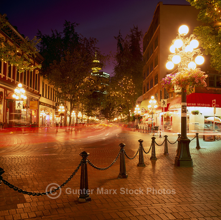 Gastown, Vancouver, BC, British Columbia, Canada - Water Street at Night