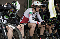 Later winner and Swiss National ITT Champion Stefan Küng (SUI/BMC) waiting for his start. <br /> <br /> Binckbank Tour 2017 (UCI World Tour)<br /> Stage 2: ITT Voorburg (NL) 9km