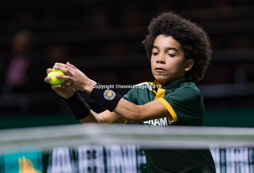 Rotterdam, The Netherlands, 11 Februari 2019, ABNAMRO World Tennis Tournament, Ahoy, first round match: Peter Gojowczyk (GET) - Andreas Seppi (ITA), Ballboy,<br /> Photo: www.tennisimages.com/Henk Koster