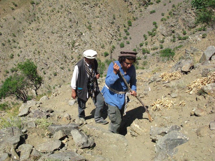 AFGHANISTAN - VALLEE DU PANJSHIR - 17 aout 2009 : Reza et Delazad Deghati lors d'une marche dans les montagnes encadrant la vallee du Panjshir. ..AFGHANISTAN - PANJSHIR VALLEY - August 17th, 2009 : Reza and Delazad Deghati on a walk through the mountains of the Panjshir Valley.