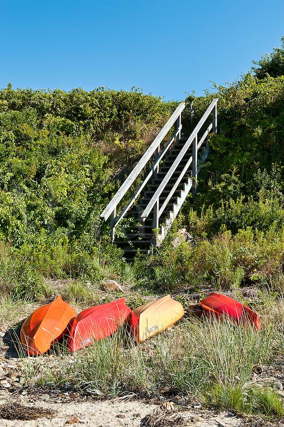Kayaks on p[rivate beach, Cape Cod, MA, Cape Cod, Massachusetts, USA