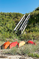Kayaks on p[rivate beach, Cape Cod, MA, Cape Cod, Massachusetts, USA