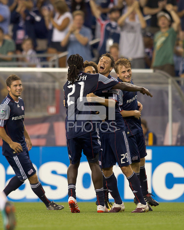 New England Revolution midfielder Marko Perovic (29) celebrates his goal with teammates. The New England Revolution defeated LA Galaxy, 2-0, at Gillette Stadium on July 10, 2010.