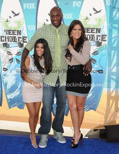Kourtney Kardashian,Khloe Kardashian & Lamar Odom at Fox Teen Choice 2010 Awards held at he Universal Ampitheatre in Universal City, California on August 08,2010                                                                                      Copyright 2010 © DVS / RockinExposures