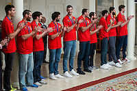 The reception of Prime Minister Mariano Rajoy to Spain national basketball team gold at EuroBasket 2015 at Moncloa Palace in Madrid, 21 September, 2015.<br /> (ALTERPHOTOS/BorjaB.Hojas) /NortePhoto.com