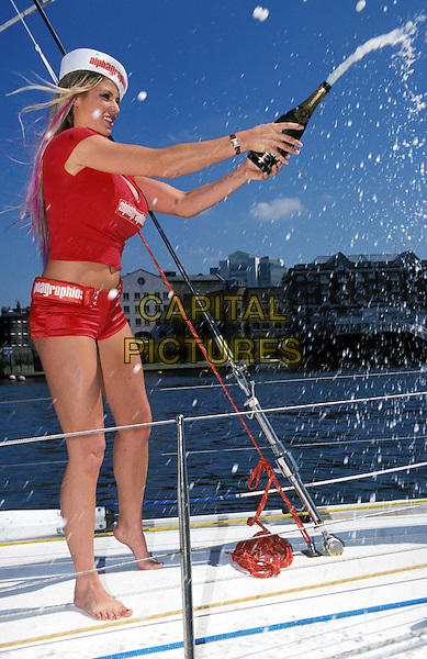 JORDAN.Ref:10927.sailor suit, champagne, boat, hotpants, page three, boob job, full length, full-length.*RAW SCAN - photo will be adjusted for publication*.www.capitalpictures.com.sales@capitalpictures.com.© Capital Pictures