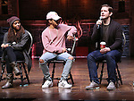 Sasha Hollinger, Jordan Fisher, Rory O'Malley from 'Hamilton' greet High School students from The Rockefeller Foundation, and The Gilder Lehrman Institute of American History before a 'Hamilton' matinee performance at the Richard Rodgers Theatre on 11/30/2016 in New York City.