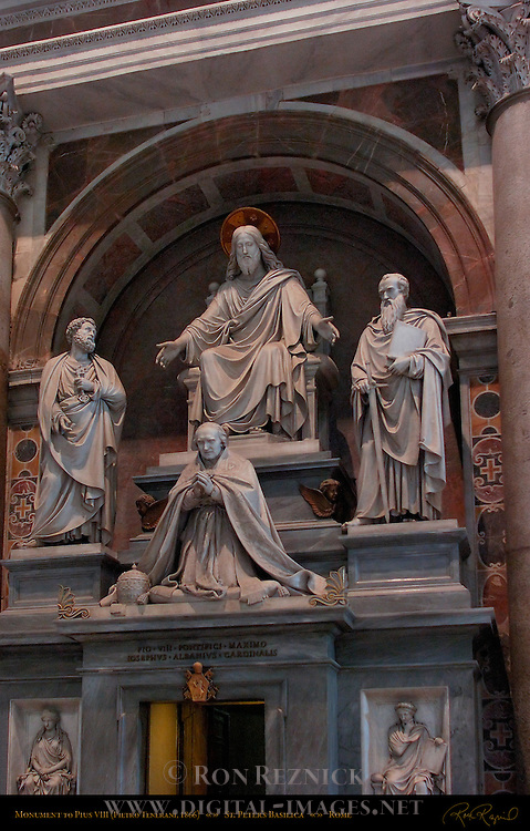 Monument to Pius VIII Pietro Tenerani 1866 Sculptures Christ Enthroned St Peter St Paul St Peter's Basilica Rome
