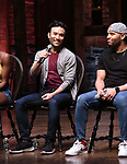 "Marc delaCruz and Terrance Spencer during the Q & A before The Rockefeller Foundation and The Gilder Lehrman Institute of American History sponsored High School student #EduHam matinee performance of ""Hamilton"" at the Richard Rodgers Theatre on 5/22/2019 in New York City."
