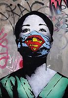 Nederland Amsterdam- juni 2020.  Super Nurse.  De straatkunstenaar Fake maakte een kunstwerk van een verpleegster als Superwoman op de NDSM-werf in Noord.  Foto Berlinda van Dam / Hollandse Hoogte