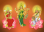 Hindu Goddess Durga with Goddess Lakshmi and Goddess Saraswati