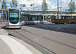 Tram train in the streets of Rotterdam, Netherlands