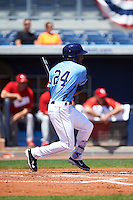 Charlotte Stone Crabs left fielder Bralin Jackson (24) at bat during a game against the Palm Beach Cardinals on April 10, 2016 at Charlotte Sports Park in Port Charlotte, Florida.  Palm Beach defeated Charlotte 4-1.  (Mike Janes/Four Seam Images)