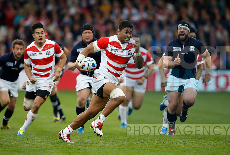 Amanaki Lelei Mafi of Japan makes a break into space only to be stopped short of the try line - Rugby World Cup 2015 - Pool B - Scotland vs Japan - Kingsholm Stadium - Gloucester - England - 23rd September 2015 - Picture Simon Bellis/Sportimage