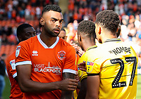 Blackpool's Curtis Tilt shakes hands with the Milton Keynes Dons players<br /> <br /> Photographer Alex Dodd/CameraSport<br /> <br /> The EFL Sky Bet League One - Blackpool v MK Dons  - Saturday September 14th 2019 - Bloomfield Road - Blackpool<br /> <br /> World Copyright © 2019 CameraSport. All rights reserved. 43 Linden Ave. Countesthorpe. Leicester. England. LE8 5PG - Tel: +44 (0) 116 277 4147 - admin@camerasport.com - www.camerasport.com
