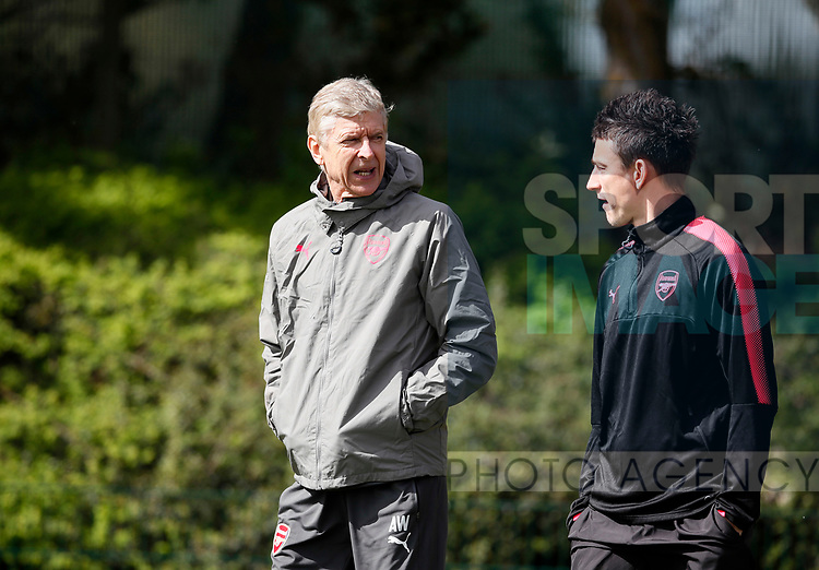Arsenal's Arsene Wenger with Laurent Koscielny during the training session at the Arsenal Training Centre, London Colney. Picture date: 25th April 2018. Picture credit should read: David Klein/Sportimage