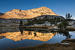 Morning light on Vogelsang Peak reflected in Vogelsang Lake, Yosemite National Park, California
