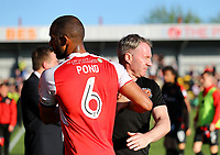 Fleetwood Town Manager John Sheridan and Fleetwood Town&rsquo;s Nathan Pond <br /> <br /> Photographer Leila Coker/CameraSport<br /> <br /> The EFL Sky Bet League One - Fleetwood Town v Walsall - Saturday 5th May 2018 - Highbury Stadium - Fleetwood<br /> <br /> World Copyright &copy; 2018 CameraSport. All rights reserved. 43 Linden Ave. Countesthorpe. Leicester. England. LE8 5PG - Tel: +44 (0) 116 277 4147 - admin@camerasport.com - www.camerasport.com