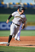 Bradenton Marauders designated hitter Albert Baur (23)  rounds third base during the first game of a doubleheader against the Lakeland Flying Tigers on April 11, 2018 at Publix Field at Joker Marchant Stadium in Lakeland, Florida.  Lakeland defeated Bradenton 5-4.  (Mike Janes/Four Seam Images)