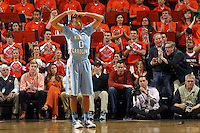 North Carolina guard Nate Britt (0) reacts to a foul called on his team during the second half of an NCAA basketball game against Virginia Monday Jan. 20, 2014 in Charlottesville, VA. Virginia defeated North Carolina 76-61. (Photo/Andrew Shurtleff)