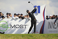 Lee Slattery (ENG) on the 11th tee during Round 4 of the D+D Real Czech Masters at the Albatross Golf Resort, Prague, Czech Rep. 03/09/2017<br /> Picture: Golffile   Thos Caffrey<br /> <br /> <br /> All photo usage must carry mandatory copyright credit     (&copy; Golffile   Thos Caffrey)