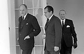 "United States President Richard M. Nixon meets Prime Minister Joseph Luns of the Netherlands at the White House in Washington, DC on April 1, 1969.  Prime Minister Luns was visiting the Nation's Capital for the State Funeral of former US President Dwight D. Eisenhower.<br /> Credit: Benjamin E. ""Gene"" Forte / CNP"
