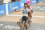 World Champion Peter Sagan (SVK) Bora-Hansgrohe wins ahead of Swiss Champion Silvan Dillier (SUI) AG2R La Mondiale in the Roubaix Velodrome at the end of the 116th edition of Paris-Roubaix 2018. 8th April 2018.<br /> Picture: ASO/Bruno Bade | Cyclefile<br /> <br /> <br /> All photos usage must carry mandatory copyright credit (&copy; Cyclefile | ASO/Bruno Bade)