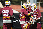 Orange, CA 05/02/10 - Zach Scarano (ASU # 12), Ryan Westfall (ASU # 15) and Tyler Westfall (ASU # 7) in action during the Chapman-Arizona State MCLA SLC Division I final at Wilson Field on Chapman University's campus.  Arizona State defeated Chapman 13-12 in overtime.