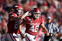 NWA Democrat-Gazette/CHARLIE KAIJO Arkansas long snapper Jordan Silver (48) reacts after recovering a fumble, Saturday, November 2, 2019 during the second quarter of a football game at Donald W. Reynolds Razorback Stadium in Fayetteville. Visit nwadg.com/photos to see more photographs from the game.