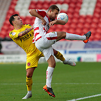 Fleetwood Town's Ross Wallace battles with Doncaster Rovers' Herbie Kane<br /> <br /> Photographer David Shipman/CameraSport<br /> <br /> The EFL Sky Bet League One - Doncaster Rovers v Fleetwood Town - Saturday 6th October 2018 - Keepmoat Stadium - Doncaster<br /> <br /> World Copyright © 2018 CameraSport. All rights reserved. 43 Linden Ave. Countesthorpe. Leicester. England. LE8 5PG - Tel: +44 (0) 116 277 4147 - admin@camerasport.com - www.camerasport.com