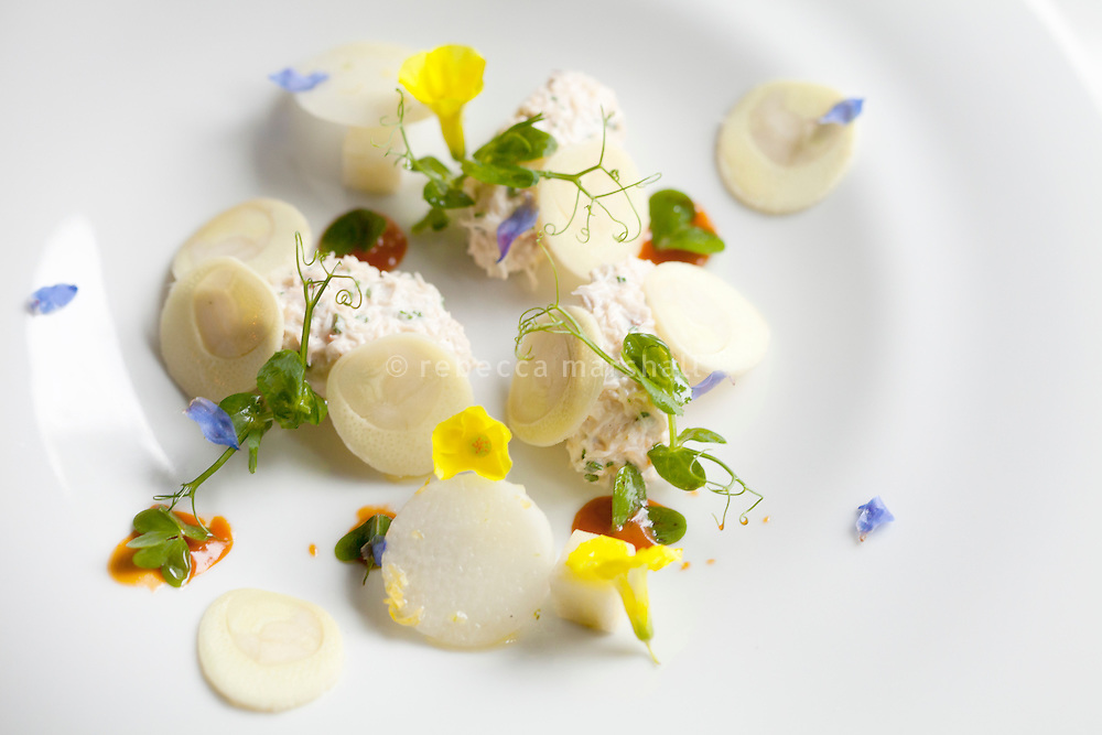A starter of crabmeat, wild yellow wood sorrel, Affila Cress and palm hearts is served at restaurant 'Flaveur', Nice, France, 10 April 2012. Chefs Gaël and Mickaël Tourteaux regularly go out into the countryside around Nice to pick wild flowers and herbs to use in their cuisine, such as the yellow wood sorrel flowers shown here.