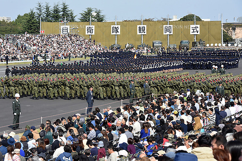 October 23, 2016, Asaka, Japan - Tanks, fighting vehicles and troops of Japans ground, sea and air self-defense forces parade in front of viewing stands during an annual Armed Forces Day celebration in honor of Japans defense forces at the Ground Self-Forces parade ground in Asaka, outside of Tokyo, on Sunday, October 23, 2016. (Photo by Natsuki Sakai/AFLO) AYF -mis-