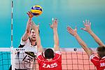 16.09.2019, Lotto Arena, Antwerpen<br />Volleyball, Europameisterschaft, Deutschland (GER) vs. …sterreich / Oesterreich (AUT)<br /><br />Angriff Simon Hirsch (#13 GER) - Block / Doppelblock Thomas Zass (#9 AUT), MathŠus / Mathaeus Jurkovics (#17 AUT)<br /><br />  Foto © nordphoto / Kurth