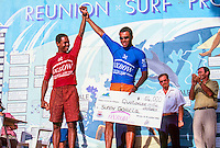 Sunny Garcia (HAW) and Jojo Olivenca (BRA) at the presentation of the 1994 Oxbow Reunion Surf Pro held at St Leu on the French island of Reunion in the Indian Ocean. Photo: joliphotos.com